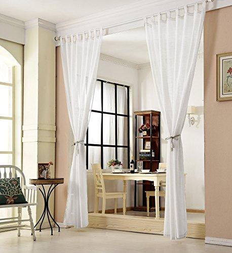 WOLTU VH5864ws-2, 2er Set Gardinen transparent mit Schlaufen Leinen Optik, Doppelpack lichtdurchlässige Vorhänge Stores Fensterschal für Wohnzimmer Kinderzimmer Schlafzimmer Küche, 140x225 cm Weiß
