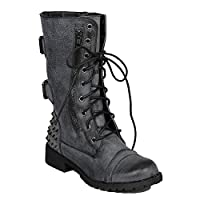 Nature Breeze Harley 12 Womens Military Lace up Studded Combat Boot Black 7.5