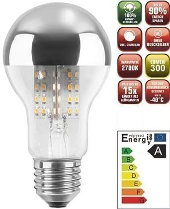 Les chic + clair LED Tête miroir Ampoule (Lampe àéconomie d'énergie, E27, 4, 9 watt, 80 LEDs, intensité variable)
