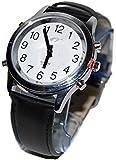 sprechende analoge unisex Armbanduhr Blindenuhr Leder-Armband Komplettdatum 38mm HSL