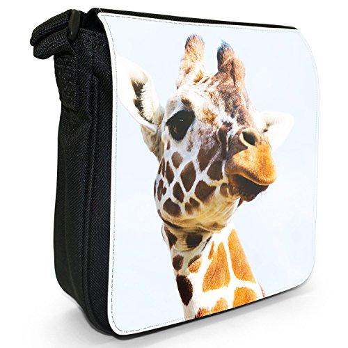 African Giraffe-Borsa a tracolla in tela, piccola, colore: nero, taglia: S Nero (Giraffe Head)