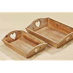 Bandeja de decoración juego de 2, Corazón, Bandeja de madera, Bandeja con Recorte de corazón, Bandeja de servir, Largo 21 cm y 26 Cm