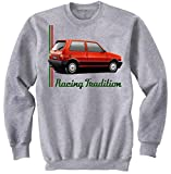 TEESANDENGINES Men's FIAT UNO TURBO IE INSPIRED Felpa Grigia Size Medium