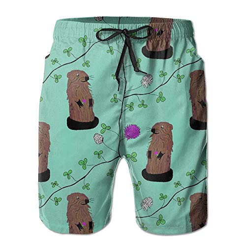 Paint0 Spring Groundhog Mens Summer Breathable Swim Trunks Beach Shorts Cargo Shorts XXL -