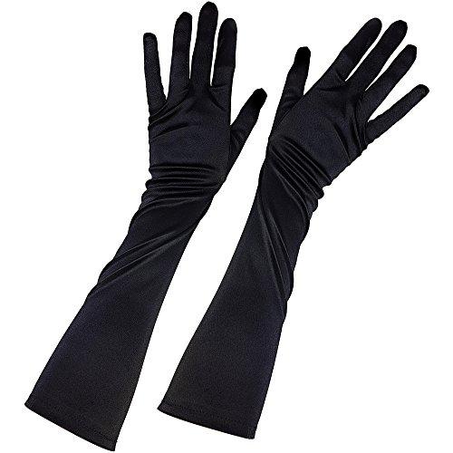 com-four® Satin-Handschuhe in schwarz, Kostüm für Fasching, Karneval, Halloween, 41,5 cm (1 Paar - Handschuhe)