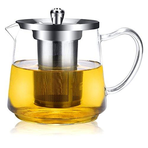Teekanne, teekanne Glas 1200ml, im Einklang mit der Lebensmittelsicherheit Material (18/8) große Teekanne, mit abnehmbaren längeren Teesieb. Sie wird sicher in Elektroherd und Mikrowelle verwendet. (Kanne Heißes Wasser)