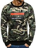 OZONEE Herren Sport Fitness Training Crewneck Täglichen Modern Sweatshirt Camouflage Langarmshirt Pullover Pulli FR 1712 L CAMO-GRÜN