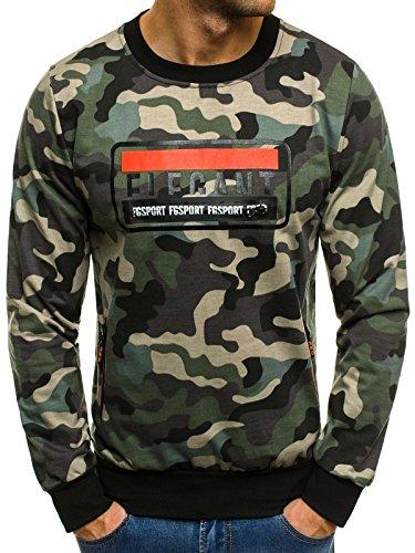 OZONEE Herren Sport Fitness Training Crewneck Täglichen Modern Sweatshirt Camouflage Langarmshirt Pullover Pulli FR 1712 2XL CAMO-GRÜN