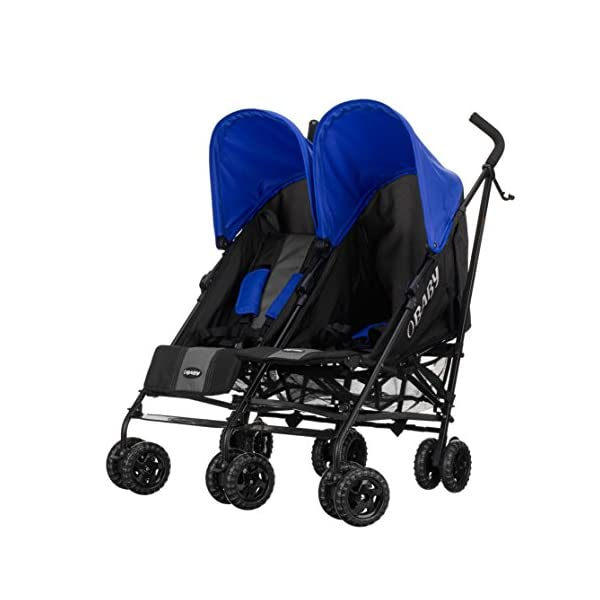 Obaby Apollo Twin Stroller (Blue) Obaby Suitable from birth to a maximum weight of 15kg Independently adjustable multi position seat units Independently adjustable hoods 2
