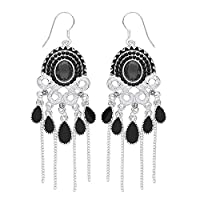 Front Row Antique Silver Colour Black Crystal and Chain Tassel Earrings