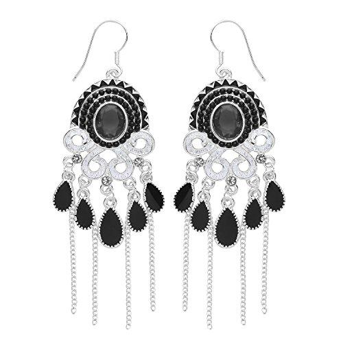 Front Row Damen-Ohrringe Farbe antikes Silber mit schwarzen Kristallfranzen
