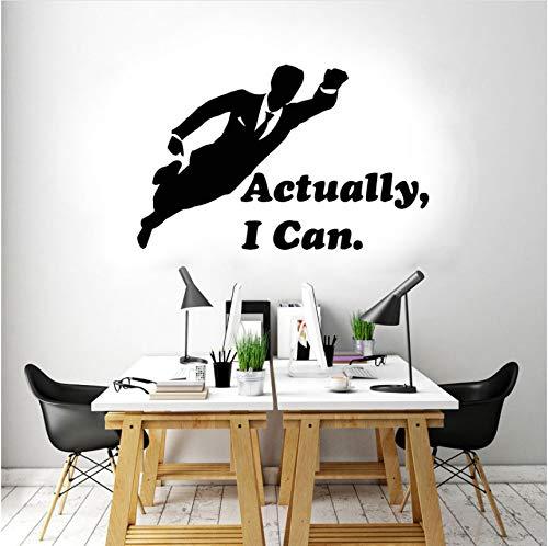 Wuyyii 66X42 Cm Büro Aufkleber Zitate Eigentlich Kann Ich Mann Fliegen Wand Vinyl Aufkleber Idee Dekoration Für Büro Schlafzimmer Selbstklebende Deco (Für Büro Halloween Ideen Dekoration)