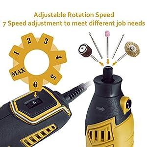 Amoladora eléctrica, Ginour 170W con 109 accesorios, 7 Velocidad Variable, Kit de herramientas, Mini Amoladora, Herramienta Rotativa, Multi-herramienta para artesanías, manualidades