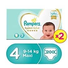Pampers Premium Care Maxi Diapers, Size 4, Dual Pack Mega Box - 8-14 Kg, 200 Count
