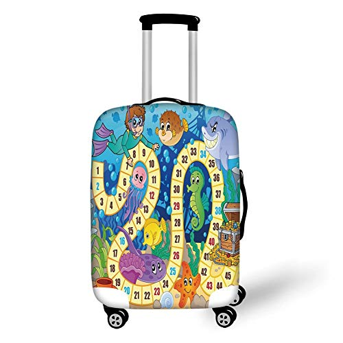 Travel Luggage Cover Suitcase Protector,Board Game,Underwater Wildlife Oceanic Game Image Animals Seashells Tresure Pirate Ship Art,Multicolor,for Travel,L