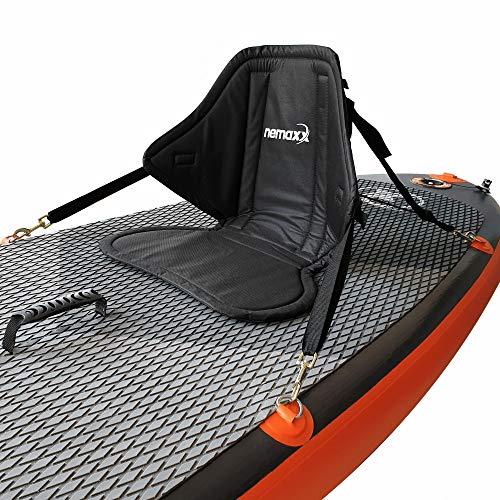 Nemaxx Komfort Kajak Sitz für SUP Surfbrett mit Sitz- und Rückenpolster Kissen - Stand Up Paddle Board Sitzauflage mit Sitztasche, Kanusitz rutschfest, schwarz -