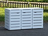 binnen-markt 3er Mülltonnenbox/Mülltonnenverkleidung 240 L Holz, Weiß