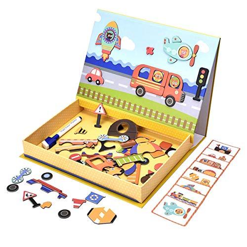 QINUKER Stem Education Toys Magnetische Puzzles, 57 Stücke Carboard Fahrzeug Puzzle & Zeichnung Skizzenblock Lernspielzeug Spiele Für Kinder Kinder