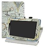 LFDZ Lenovo Tab 3 Rotante Custodia, Slim Girevole Smart 360 Gradi di Rotazione Case Cover Custodia Protettiva per 7' Lenovo Tab 3 7 Essential Tab-710F Tablet,Map White