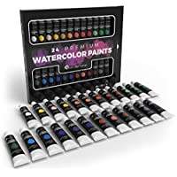 Castle Art Supplies 24 Watercolour Paint Set Perfect for Professionals and Beginners - Squeeze The Tube and Add Water to Dilute Our Concentrated Range of Richly Pigmented Colours - for All Mediums