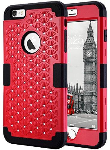 Cover iphone 6s plus, ulak custodia iphone 6 plus cover ibrida a protezione integrale con parte esterna in 3 strati di morbido silicone e interno rigido per iphone 6 plus / 6s plus 5.5 pollici,glitters rosso / nero