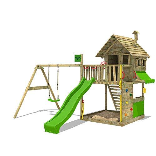 FATMOOSE Spielturm GroovyGarden Combo XXL Baumhaus Stelzenhaus mit großem Sandkasten, Rutsche und Schaukelanbau*