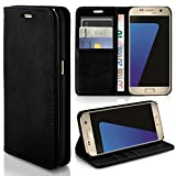 Samsung Galaxy S7 Hülle Schwarz mit Karten-Fach [OneFlow Book Klapp-Hülle] Etui Schutzhülle Handytasche Kunst-Leder Handyhülle für Samsung Galaxy S7 Case Flip Cover Tasche