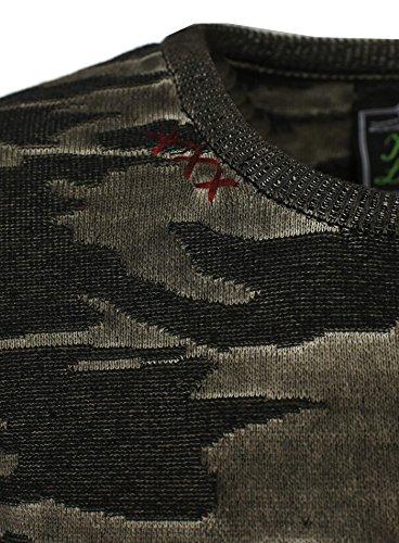 Key Largo Herren Pullover FINAL Sweatshirt Camouflage Look mit Ziernaht Tarnmuster Braun