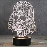 3D Nachtlicht LED Acryl Holzsockel USB Kreative Stereo Vision Tischlampe (Helm Seltsam)