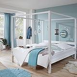 Lomado Himmelbett massiv weiß lackiert ● Liegefläche 140x200cm ● Jugendbett Gästebett Einzelbett