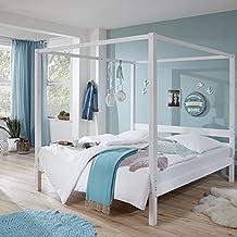 Lomado Himmelbett Massiv Weiß Lackiert ○ Liegefläche 180x200cm ○ Doppelbett  Ehebett