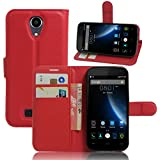Doogee X3 Funda, Wrcibo Doogee X3 Funda Flip de PU Cuero Billetera Cartera Monedero Funda Caso Case para Doogee X3 Smartphone (Rojo)