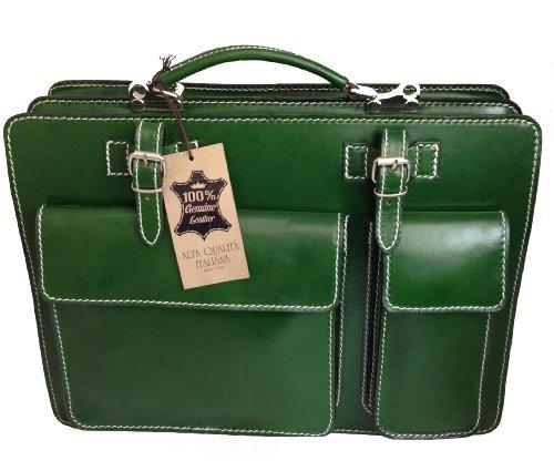 CTM Borsa Cartella a Spalla Verde Porta Documenti da Uomo, 38x29x11cm, Vera Pelle 100% Made in Italy