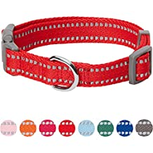 Umi. Essential Pastel Color Reflective Dog Collar in Red, Medium, Neck 37cm-50cm, Adjustable Collars for Dogs
