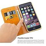 iDoer iPhone 6S Funda con tapa libro piel y TPU cartera cover Funda de cuero carcasa bumper protectores iphone 6 estuches soporte flip Case para Apple iPhone 6 6S 4.7 pulgada amarillo