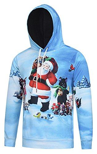 Pizoff Unisex Hip Hop Sweatshirts druck Kapuzenpullover mit weihnachten christmas baum hirsch Digital (Christmas Hop Hip Kostüm)