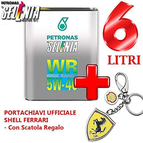 3 FUSTI da 2 LT Olio LUBRIFICANTE SELENIA Petronas WR Wide Range Diesel GRADAZIONE 5W-40+Portachiavi Ufficiale Shell Ferrari - con Scatola Regalo