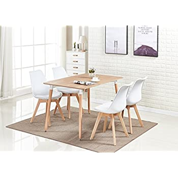 Super Pn Homewares Lorenzo Dining Table And 4 Chairs Set Retro And Modern Scandinavian Dining Set White Black Grey Red Pink Green Chairs With Wood Brown Home Interior And Landscaping Ologienasavecom