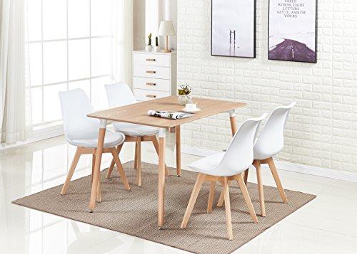 P & N Homewares® Lorenzo Esstisch und 4 Stühle Set Retro und modernes Skandinavisches Esszimmer Set Weiß Schwarz Grau Rot Pink Grün mit Holz braun Esstisch weiß (Hoher Ess-sets Tisch Stuhl Und)