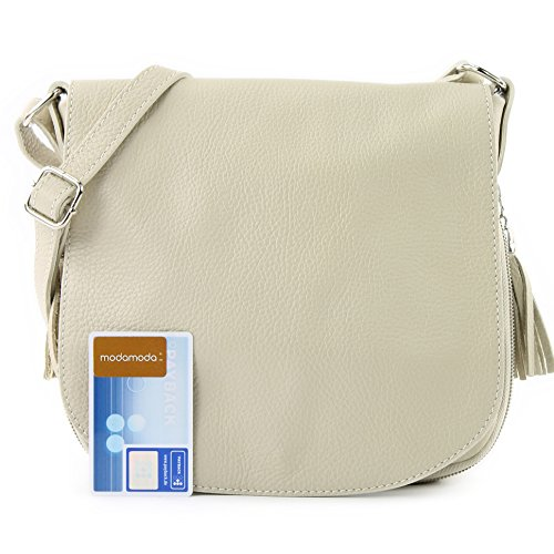 modamoda de - ital. Ledertasche Damentasche Umhängetasche Messenger Crossover Leder T06 Cremebeige