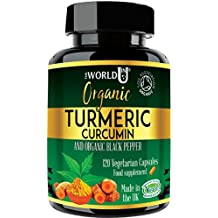 Ultra Pure Organic Turmeric Curcumin and Organic Black Pepper Capsules - High Strength Food Supplement - 120 Veg Capsules - Soil Association Organic Certified and Vegetarian Society Approved - Made in UK