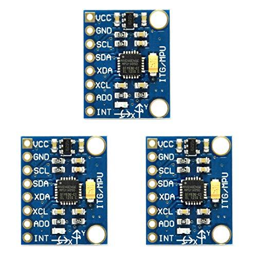 Gikfun GY-521 MPU-6050Modulo giroscopio accelerometro a 3 assi, 6gradi di libertà, modulo sensore giroscopio accelerometro a 6 assi, per Arduino, fai da te, confezione da 3, EK1091x3U