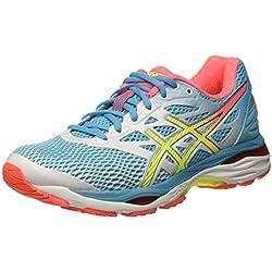 Asics Gel-Cumulus 18, Chaussures de Running - Femme -Multicolore (White/Safety Yellow/Blue Atoll)-37 EU