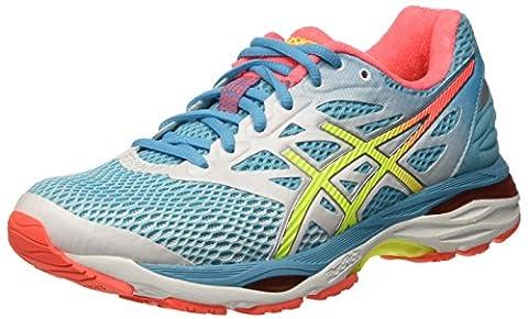 Asics Gel-Cumulus 18, Chaussures de Running - Femme -Multicolore (White/safety Yellow/Blue Atoll)-39 EU