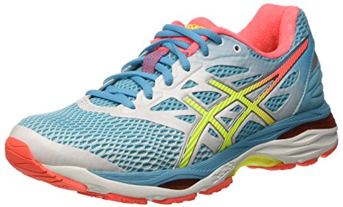 Asics Gel-Cumulus 18 Zapatillas de running, Mujer, Azul (White / Safety Yellow / Blue Atoll), Talla  39.5
