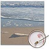fishappleeatall Manteles Individuales Playa Azul Detalle de Espuma de mar en el Borde de Las Aguas Día Soleado y ventoso en Palma de Mallorca España Baleares