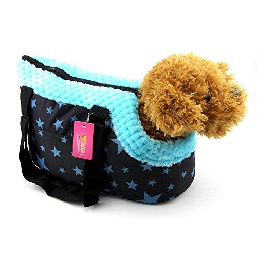 owikar tragbar Pet Carrier Handtasche mit Reißverschluss Kleines Medium Pet Dog Puppy Cat Travel Outdoor Hundetasche Schulter Tasche Soft Warm Blau Muster bedruckt (Kätzchen Kuschelige Kostüme)