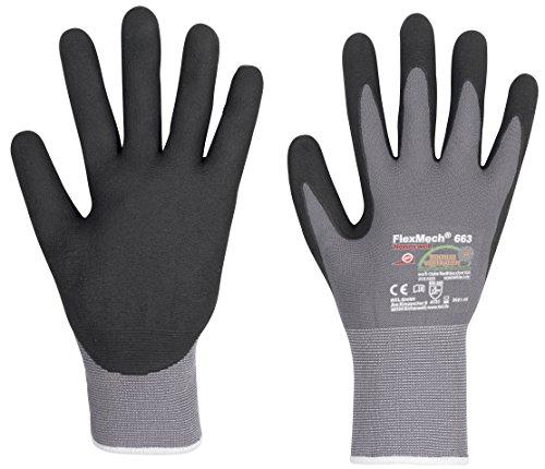 3 Paar KCL Arbeitshandschuhe FlexMech EN388 - Schutzhandschuhe Mechanikerhandschuhe für feuchte ölige Arbeiten und mechanische Risiken, Größe: 8 (M) Handwerker-handschuh