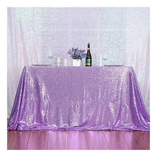 Rechteckige Pailletten-Tischdecke von 3E Home für Parties, Kuchen- und Dessert-Tische, Ausstellungen, Veranstaltungen, Textil, lavendel, 50×80''