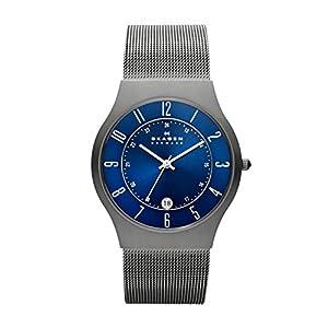 Reloj de caballero Skagen Slimline233XLTTN de cuarzo, correa de acero inoxidable color gris de SKAGEN